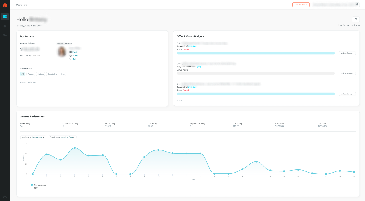 new streamlined interface in PerformLEAP marketer dashboard